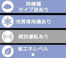 東京の業務用エアコン商品仕様